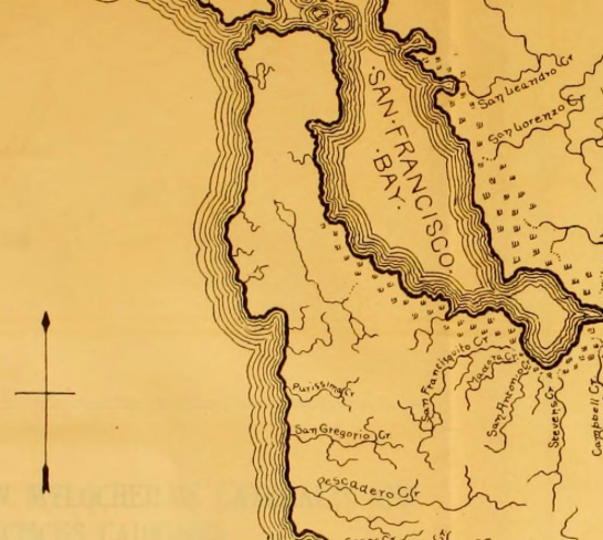 Detail from Map in  Notes on the Fishes of the streams flowing into San Francisco Bay, California  (1906), at page 337.