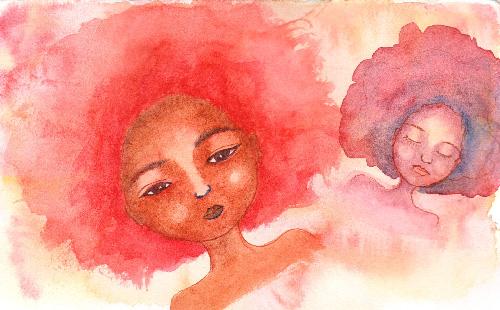 African American Afro Women Watercolour
