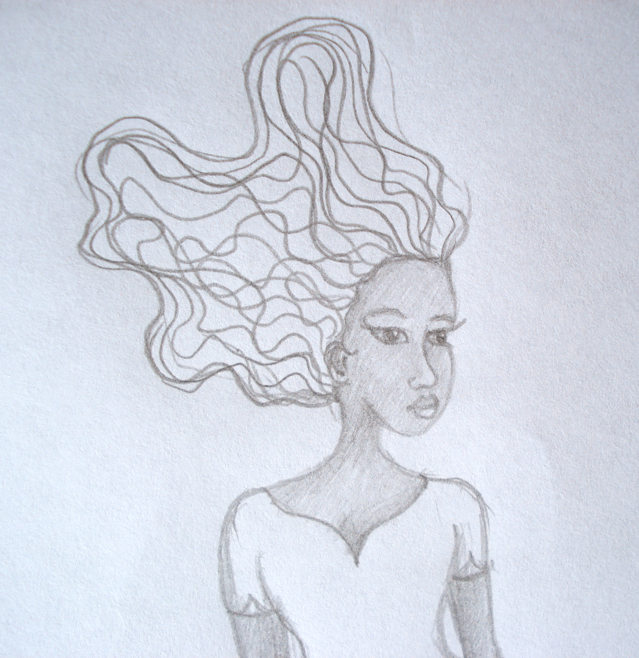 African American Woman Pencil Sketch - Close Up