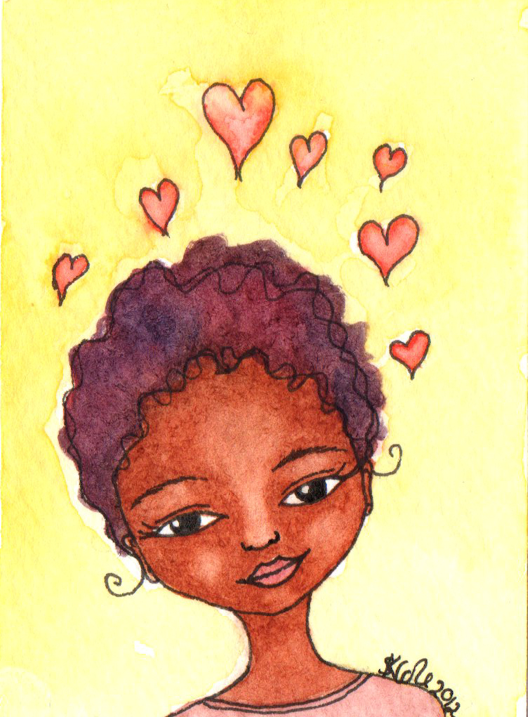 Happy Hearts Original Watercolour ACEO © Stacey-Ann Cole 2012