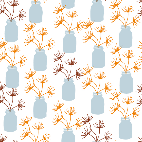 Meadow In A Jar Surface Pattern Design (Buttermilk Colourway) © Stacey-Ann Cole 2015