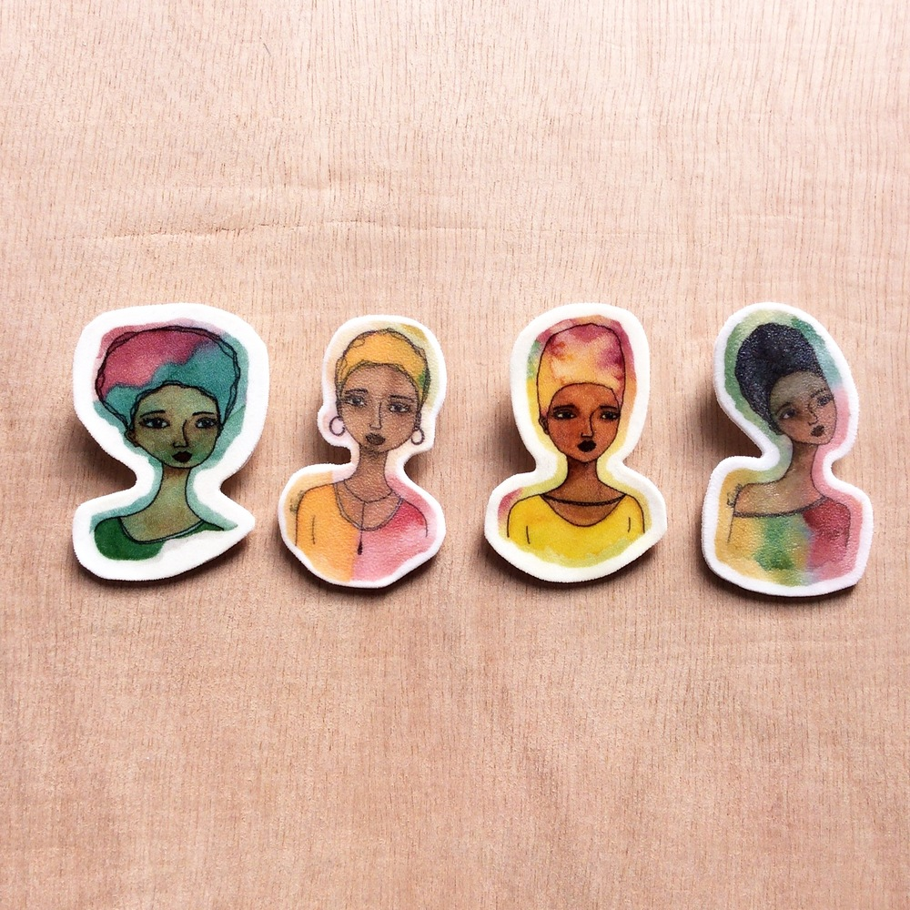These small handmade brooches are available here in my Etsy shop Stacey-Ann Cole Art