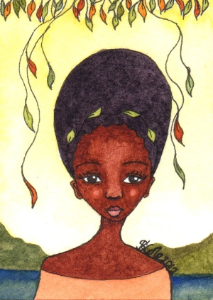 """Nature Spirit"" Original Watercolour Painting, 2.5"" x 3.5"" ACEO © Stacey-Ann Cole 2012"