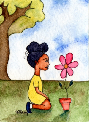 """'Appreciating Nature' Original Watercolour Painting, ACEO, Approx. 2.5: x 3.5"""", © Stacey-Ann Cole 2014"""