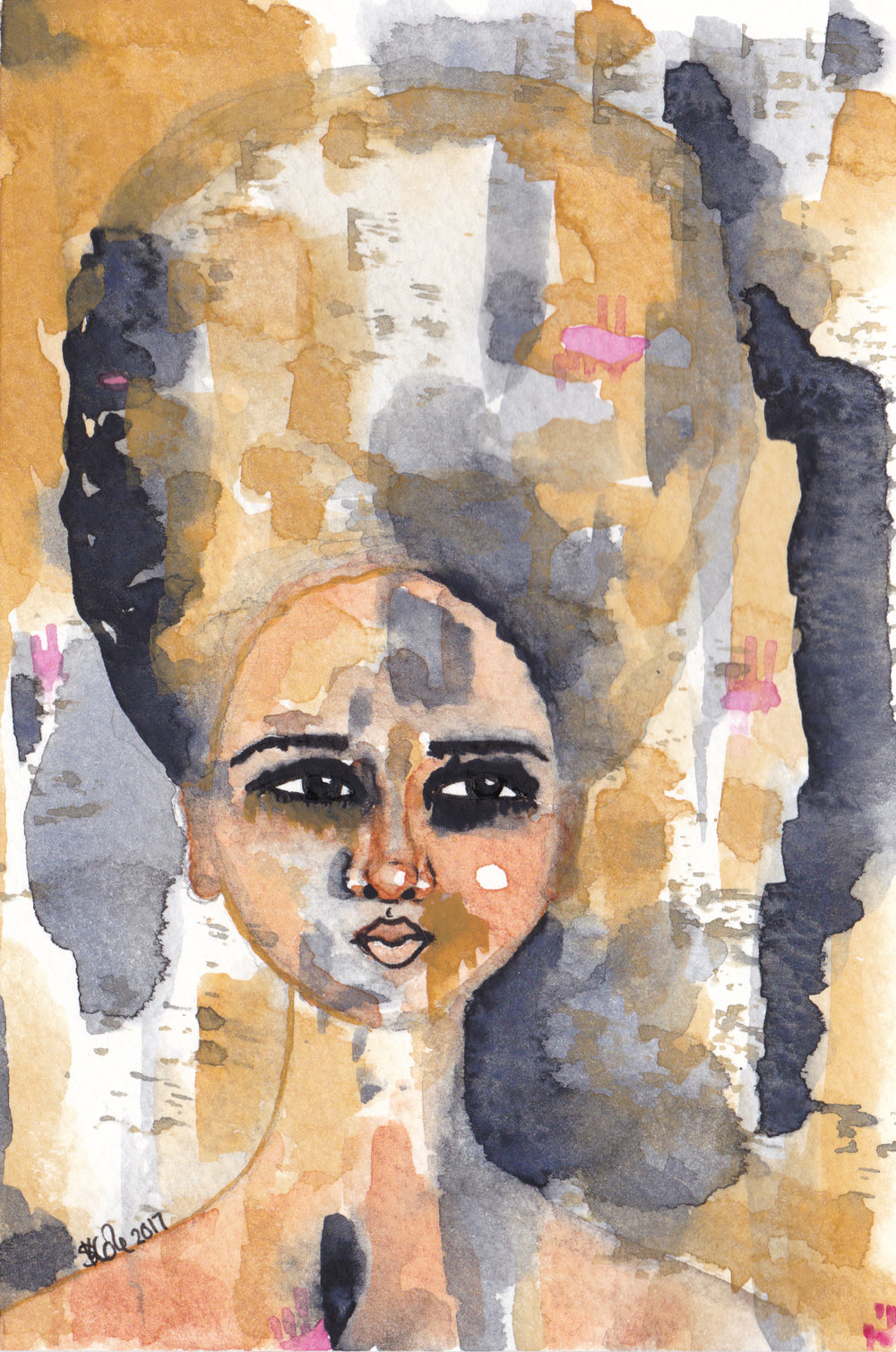 'Emerge Into Being' Original Watercolour Painting by Stacey-Ann Cole