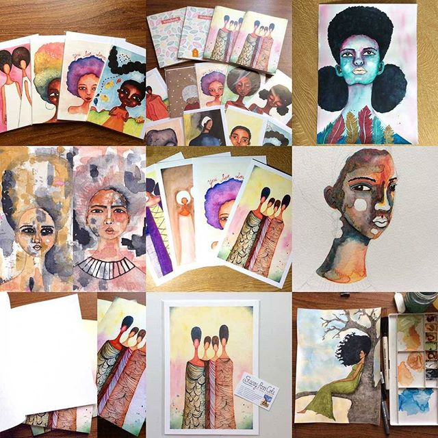 Here's my best nine on instagram this year.  Full of colour and it seems my Wise Women painting is one that viewers seem to really love. Thanks for all of the support this year you guys, coming out to events here in Peterborough, buying and sharing online, just everything. Every little bit of support really does help to keep us artists creating the work that u enjoy, so thank you.  #bestnine2017 #artistsofinstagram #art #afrocentric #afroart #peterboroughartist #blackartists #Peterborough #watercolour #watercolor #africanamericanart #africanamerican #blackgirlmagic #painting #support #sharing #afro