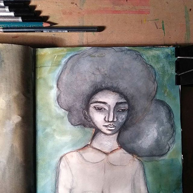 I havent posted any updates in a while but here's a page from my art journal. I hope you all are having a good start to the year so far 😊  #mood #artistsofinstagram #artjournal #art #afro #africanamericanart