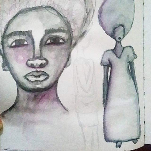 Did some sketchbook work today  #creativesketchbook #creativepractice #sketchbook #watersoluble #pencils #afro #afrohair #africanamerican #artistsofinstagram #art #drawing