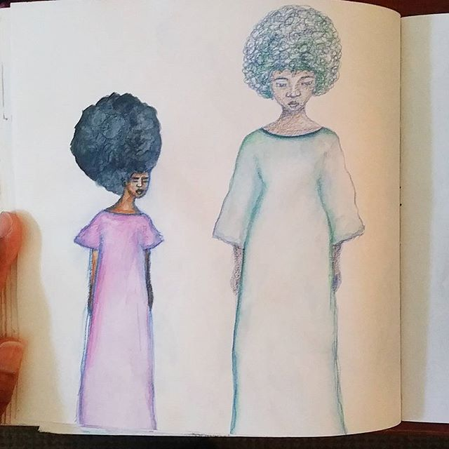 More sketchbook work today with watersoluble pencils. With these pencils, I like that I can have a sketchy look combined with a softer watercolour look if I choose to 😊  #sketching #drawing #sketchbook #creativepractice #watersoluble #watercolourpencils #watercolorpencils #watercolor #watercolour #africanamericanart #africanamerican #art #afro #afrohair #representationmatters