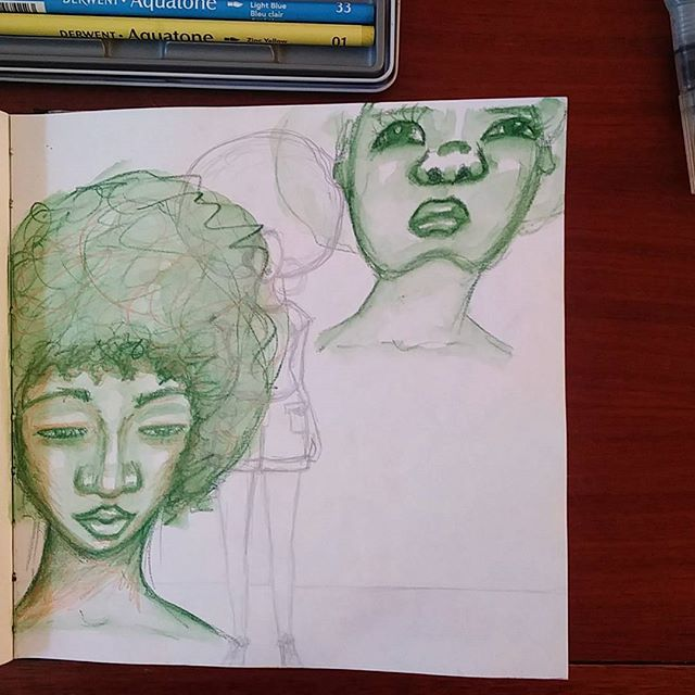 More sketchbook shenanigans 😊  #sketching #drawing #sketchbook #creativepractice #watersoluble #watercolourpencils #watercolorpencils #watercolor #watercolour #africanamericanart #africanamerican #art #afro #afrohair #representationmatters