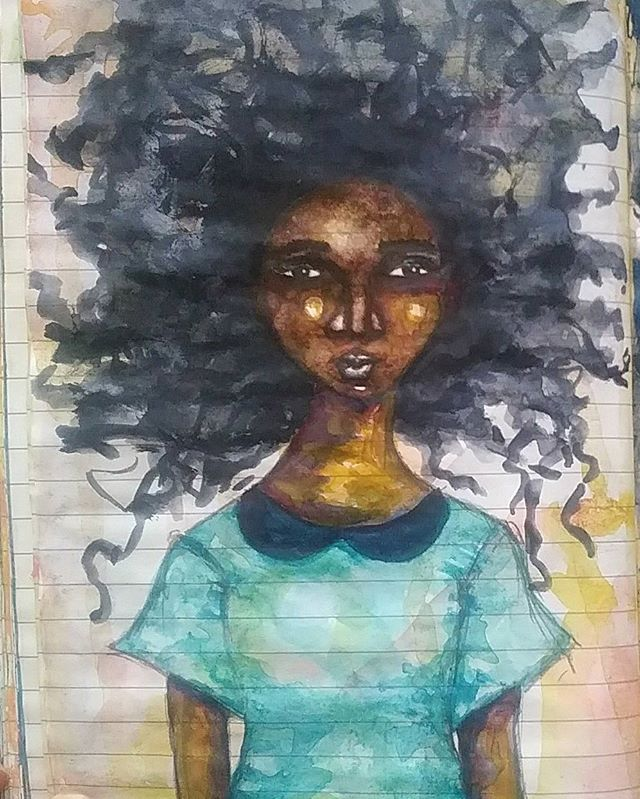 This is a random page from my art journal where I'm exploring different ways to apply the watercolour paint  #mood #artistsofinstagram #artjournal #art #afro #africanamericanart #doitfortheprocess #explore #experiment #creativepractice