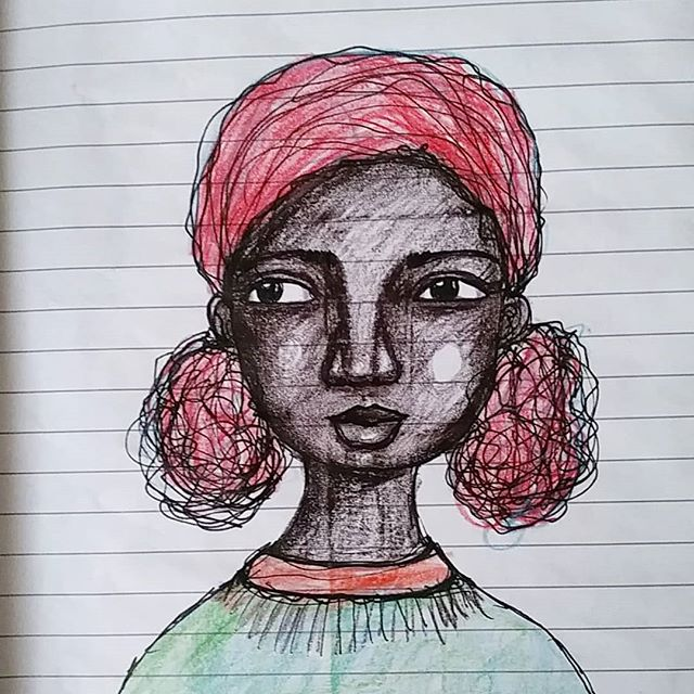 Last night's drawing  #mood #artistsofinstagram #artjournal #art #afro #africanamericanart #doitfortheprocess #explore #experiment #creativepractice #sketchbook