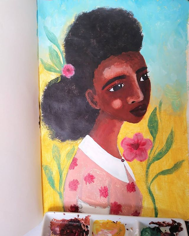 I've been practising painting with acrylics and I feel like Im slowly getting the hang of it 😊  #artistsofinstagram #doitfortheprocess #artjournal #paint #acrylicpainting #acrylic #artjournal #africanamericanart #art #afrocentric #afrohair #afro #blackartists #blackgirlmagic #blackart #creativepractice #practise #representationmatters #multicultural #flowers #nature #woman #colour