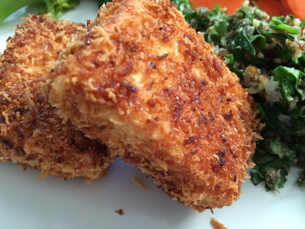Southern Fried Tofu with Salsa Verde