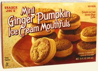 Trader Joe's mini ginger pumpkin ice cream mouthfuls.