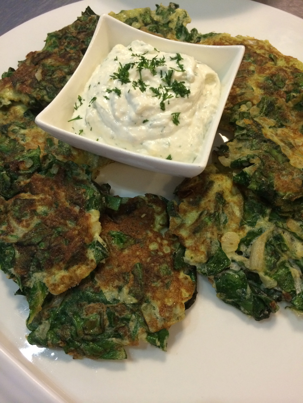 Swiss Chard Cakes with Goat Cheese Horseradish Sauce
