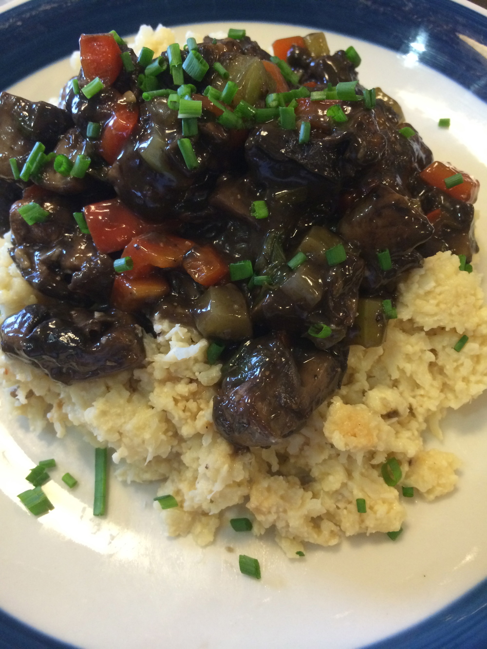 Cauliflower Grits with Mushroom Saute