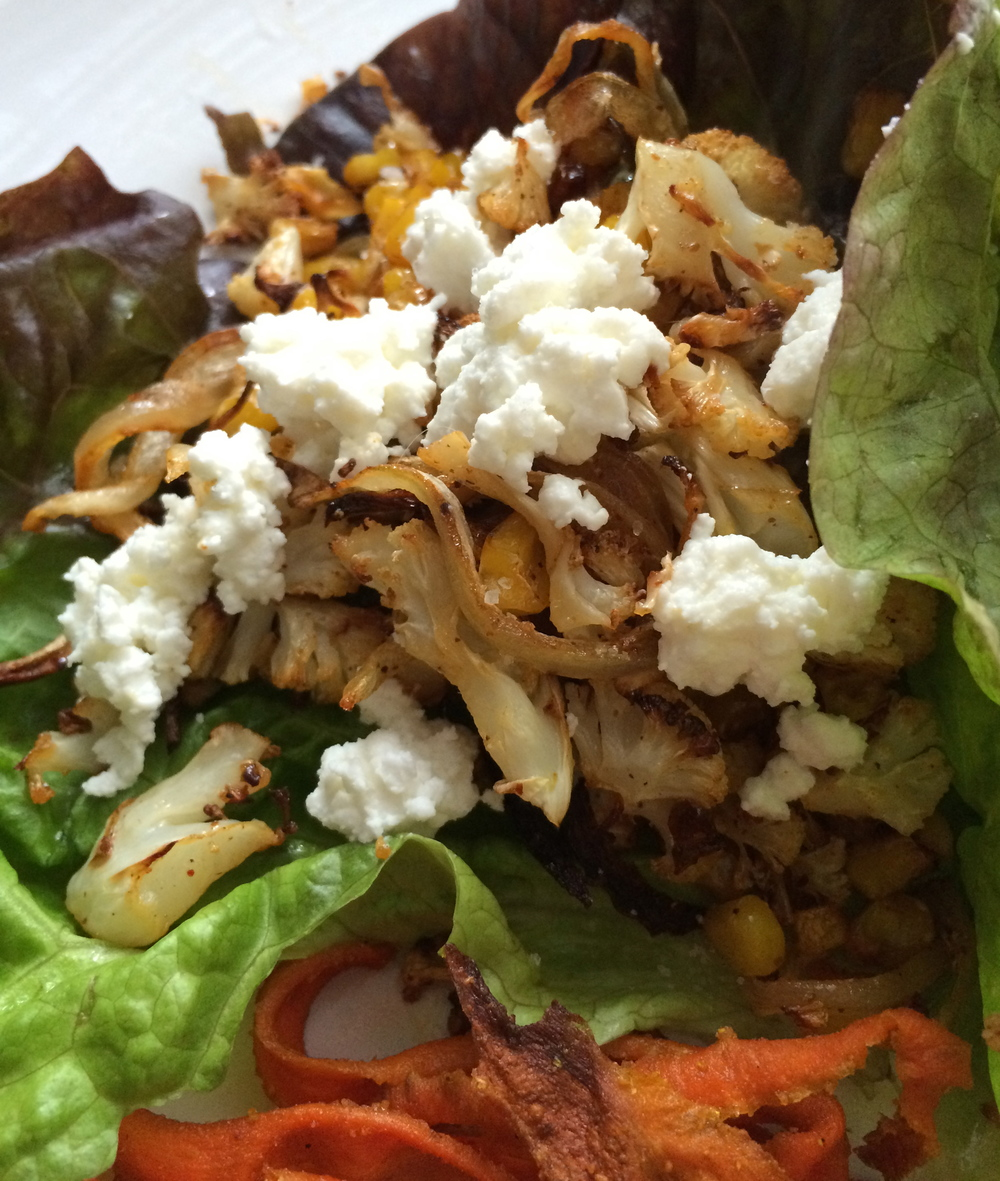 Cauliflower and Corn Lettuce Wraps