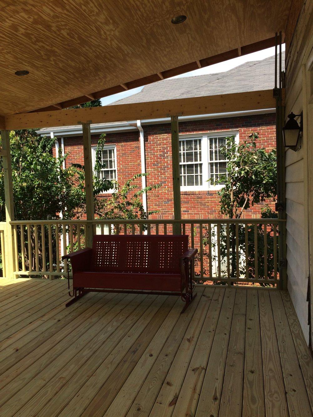 porch during....got a glider!
