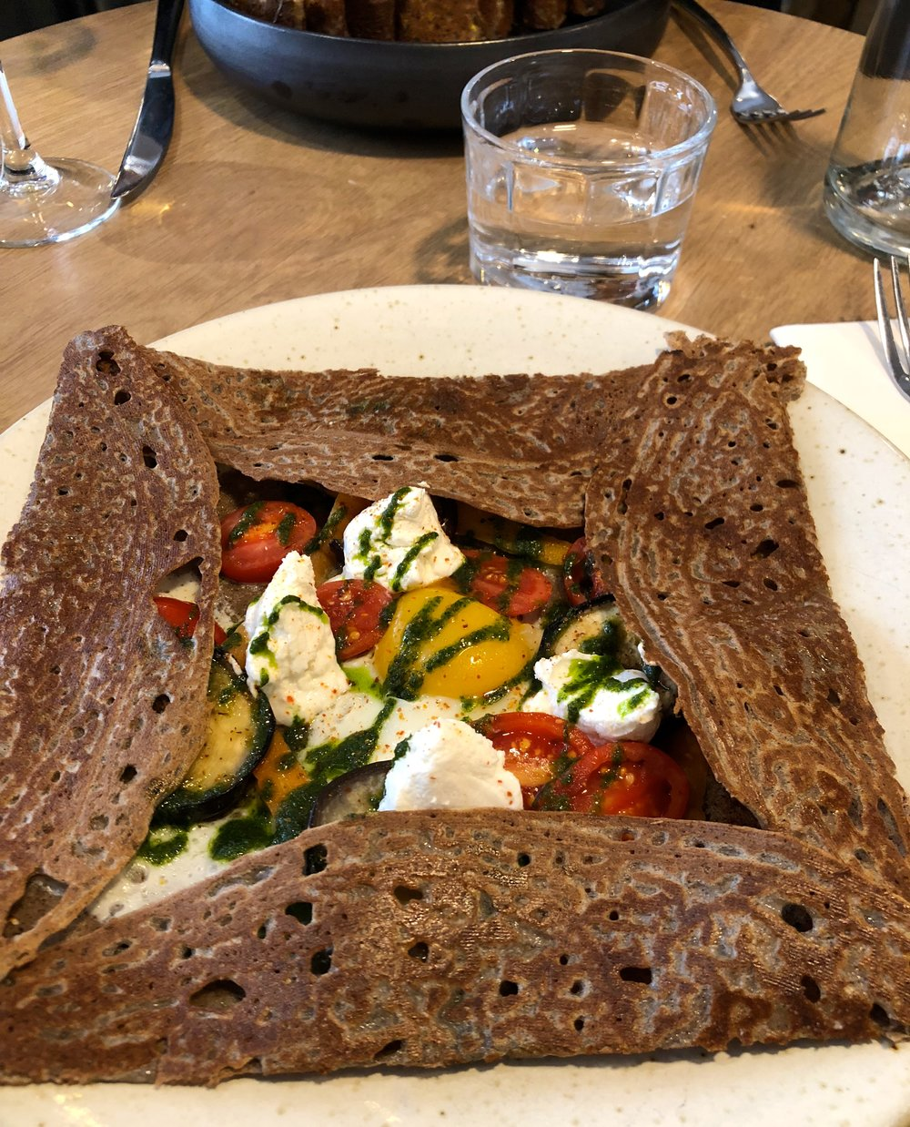 Breizah cafe, crepe with vegetables, goat cheese and an egg