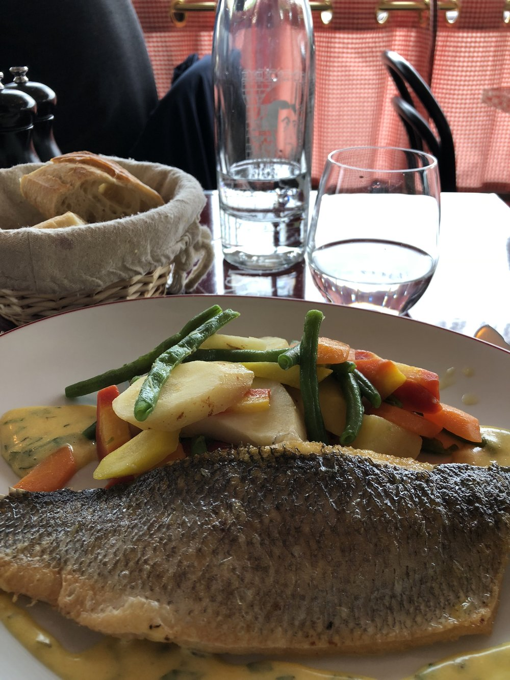 more sea bass with vegetables….best meal I had! Tarragon hollandaise!