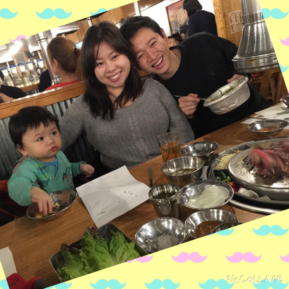 Phil, Mama and J. at Kang Ho-Dong Baekjeong Korean BBQ for dinner