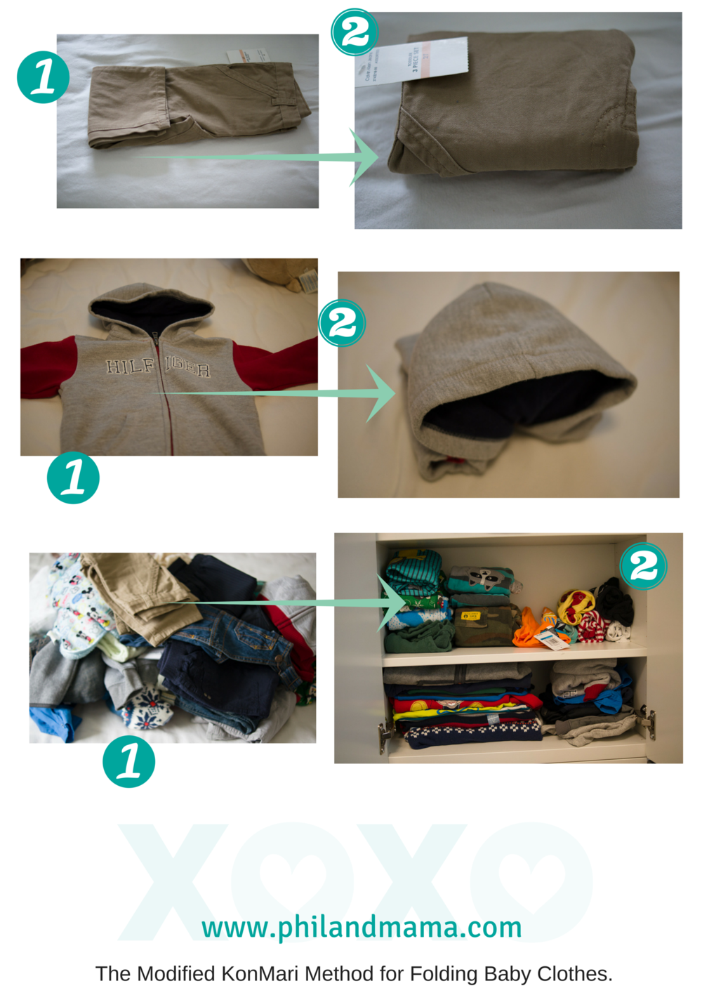 Folding clothes into rectangles or compact rolls to easily sort and store them in small spaces. Helps clean out a lot of closet space.
