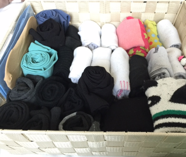 I feel at peace when I pull out my sock drawer and see neatly filed socks and rolled-up tights.
