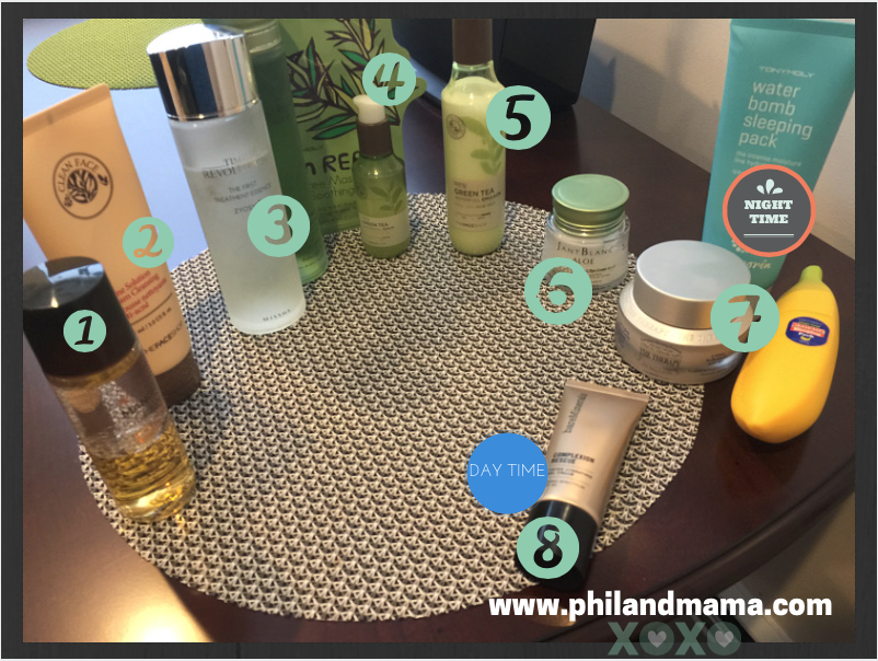 "12 products (some interchangeable) that Phil's Mama uses during her modified ""ten-step"" Korean Beauty routine"