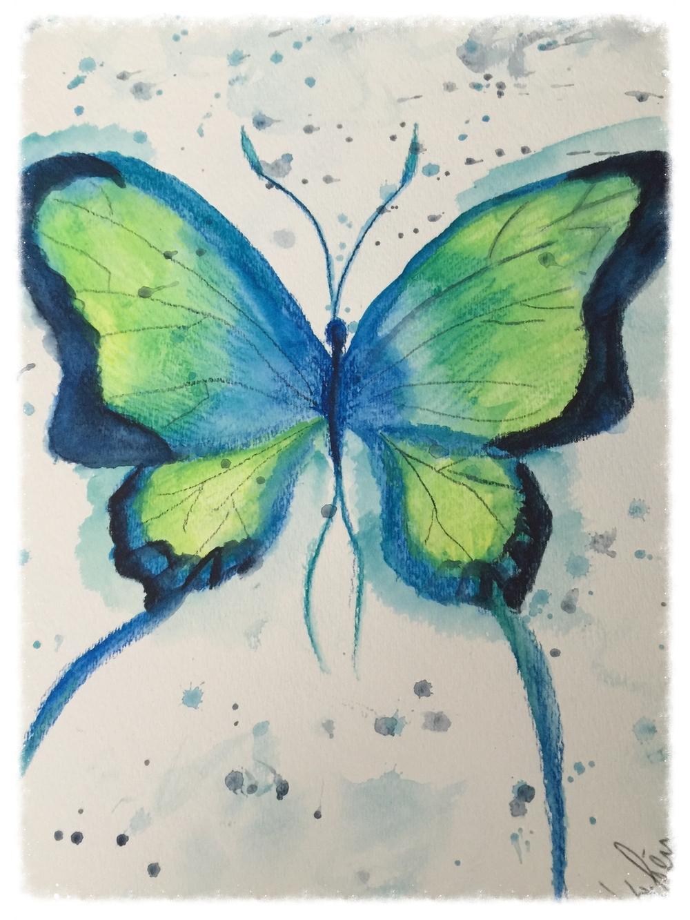 Aqua Butterfly by mama kat