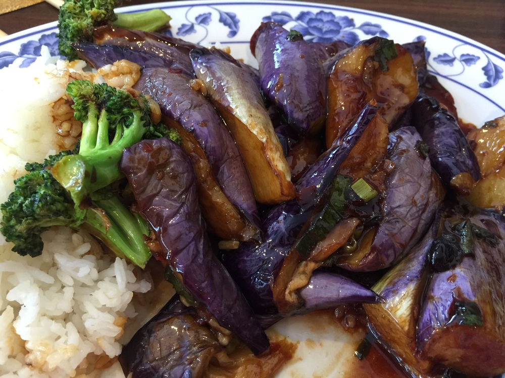 eGGPLANT AND BROCCOLI WITH GARLIC SAUCE OVER RICE