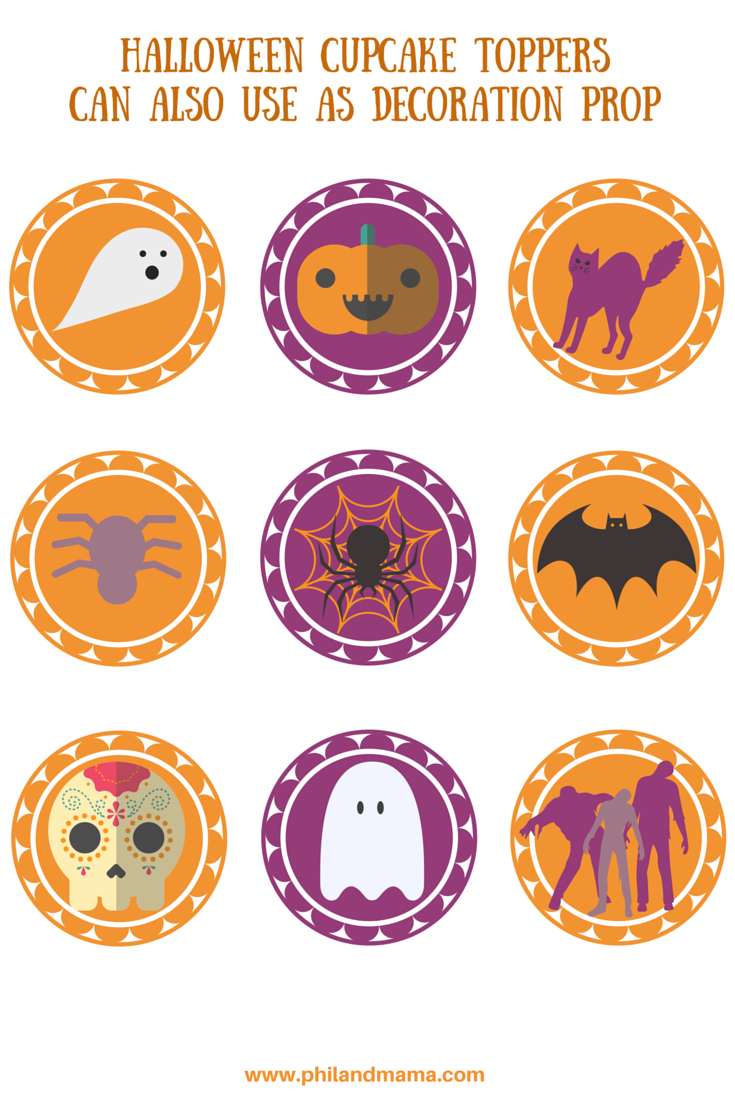 Super cute Halloween Cupcake Toppers, you can also print these into stickers!