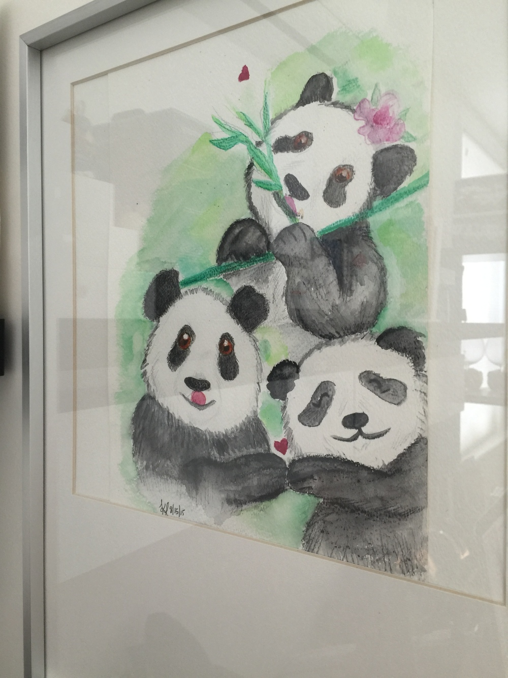 Panda family, painted with  watercolor coloring pencils: Derwent Inktense *