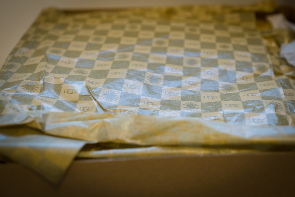 Loving this checkered tissue paper with UGG branding.