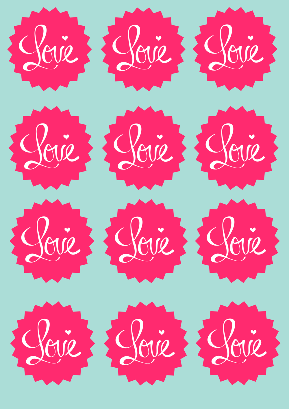 LOVE Stickers that can be used as bottle labels or cupcake toppers