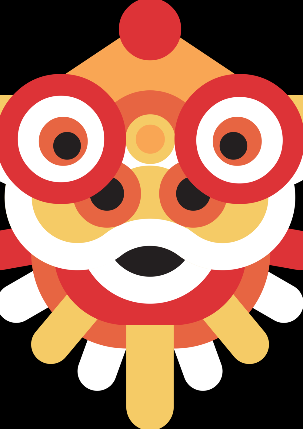 Lunar New Year Dancing Lion Face Mask to print, cut out and use!