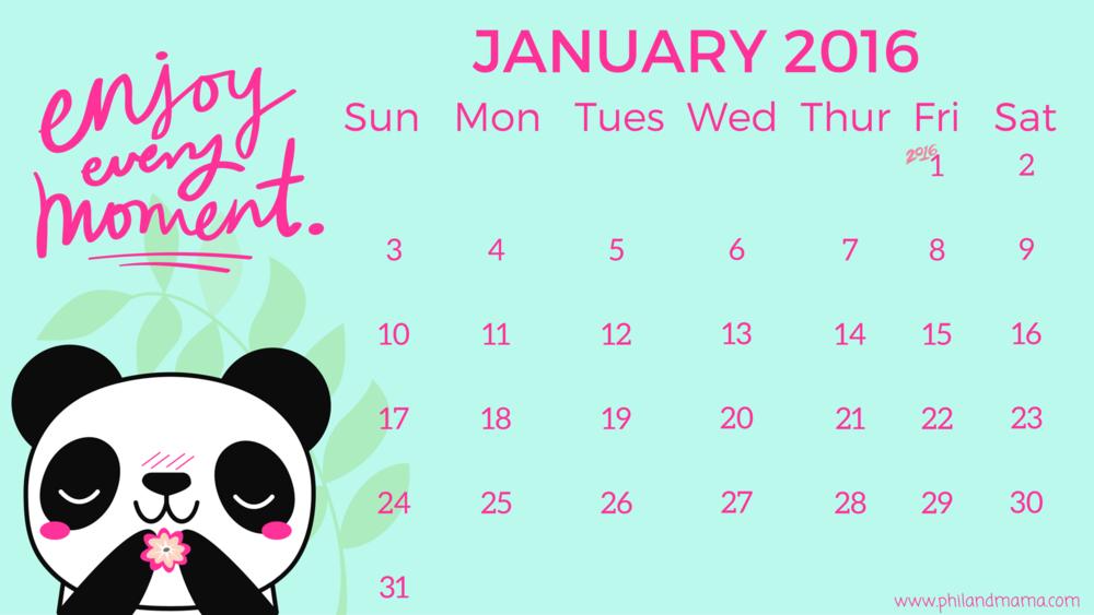 january 2016 panda calendar