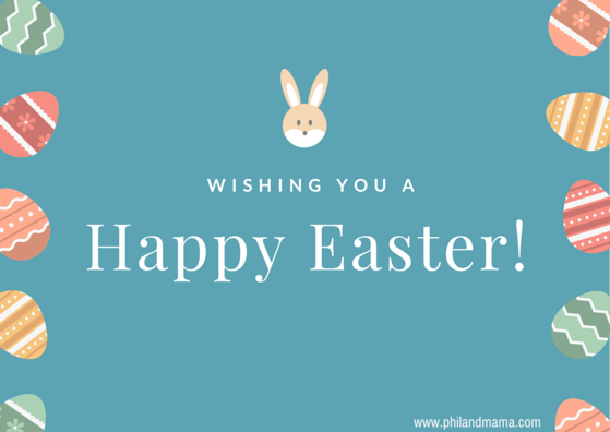 Happy Easter Free E-card graphic for social Media, cute yellow bunny and easter eggs