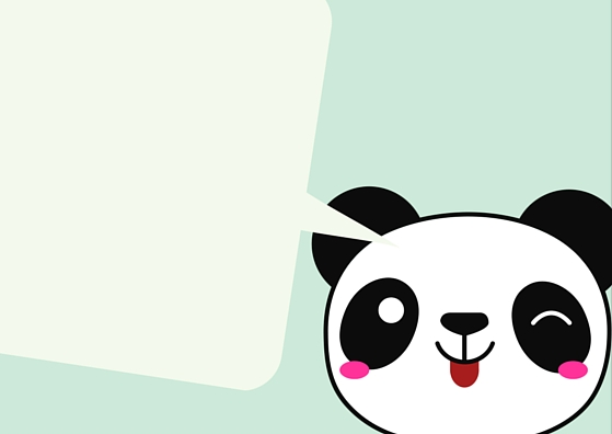 BLANK PANDA TEMPLATE LUNCH BOX NOTE CARD (Aqua)