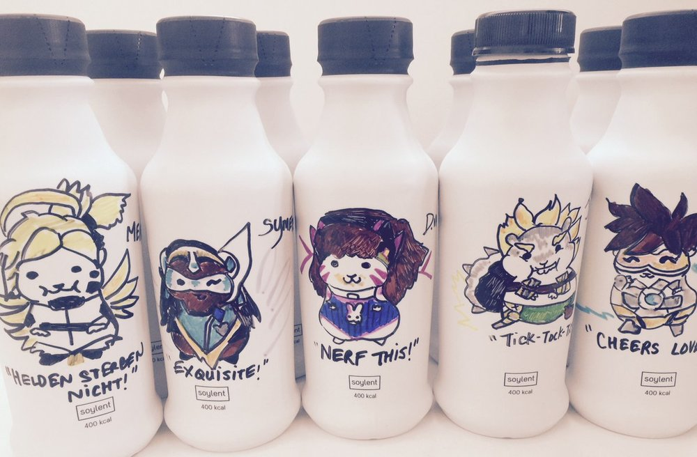 OverHams OverSoy... Overwatch characters as hamster fan art on Soylent 2.0 bottles.