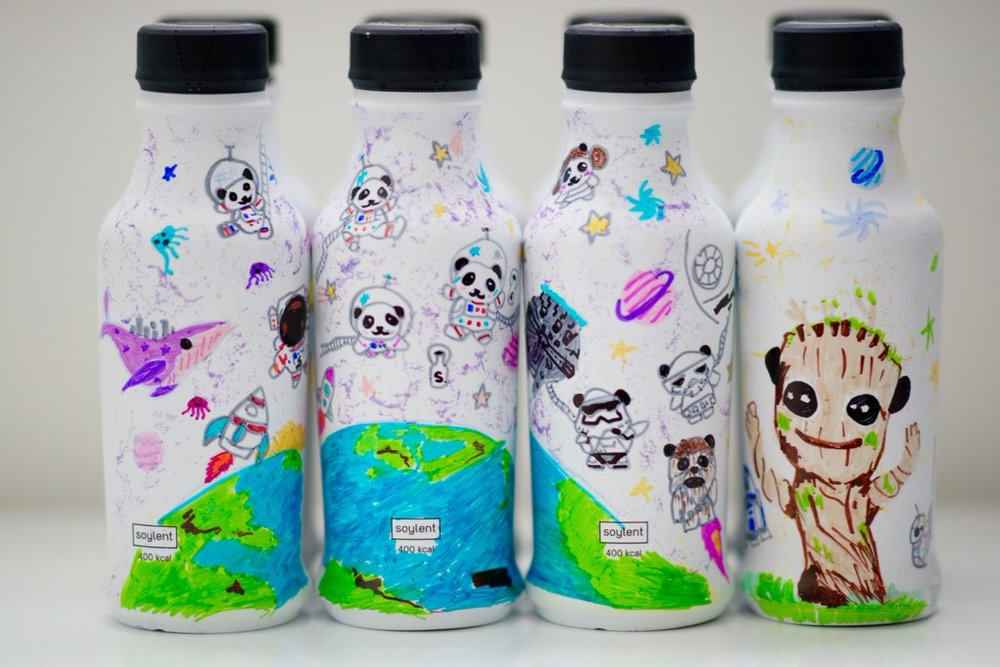 A Spaceman and space pandas, Dancing Groot, space whale and jellies, plus eight Star Wars References over Soylent 2.0 Bottles... #SharpieArt fanart