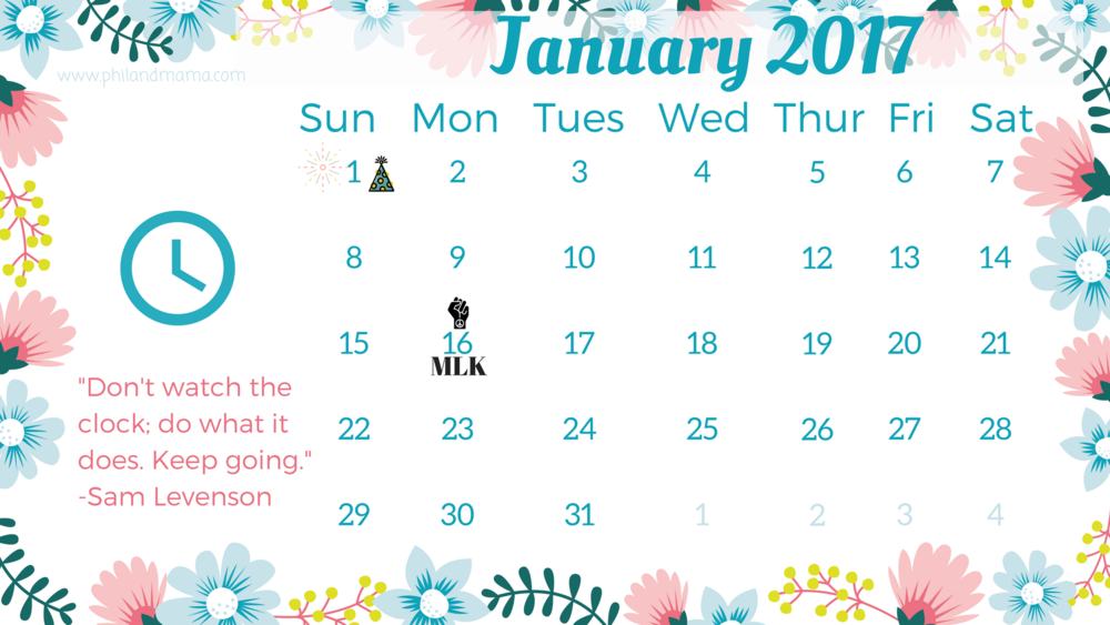 January 2017 free printable calendar. Click on the image for the PDF file. For the image file, right-click and save as.