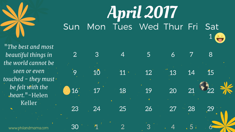 April 2017 FREE PRINTABLE CALENDAR. CLICK ON THE IMAGE FOR THE PDF FILE. FOR THE IMAGE FILE, RIGHT-CLICK AND SAVE AS.