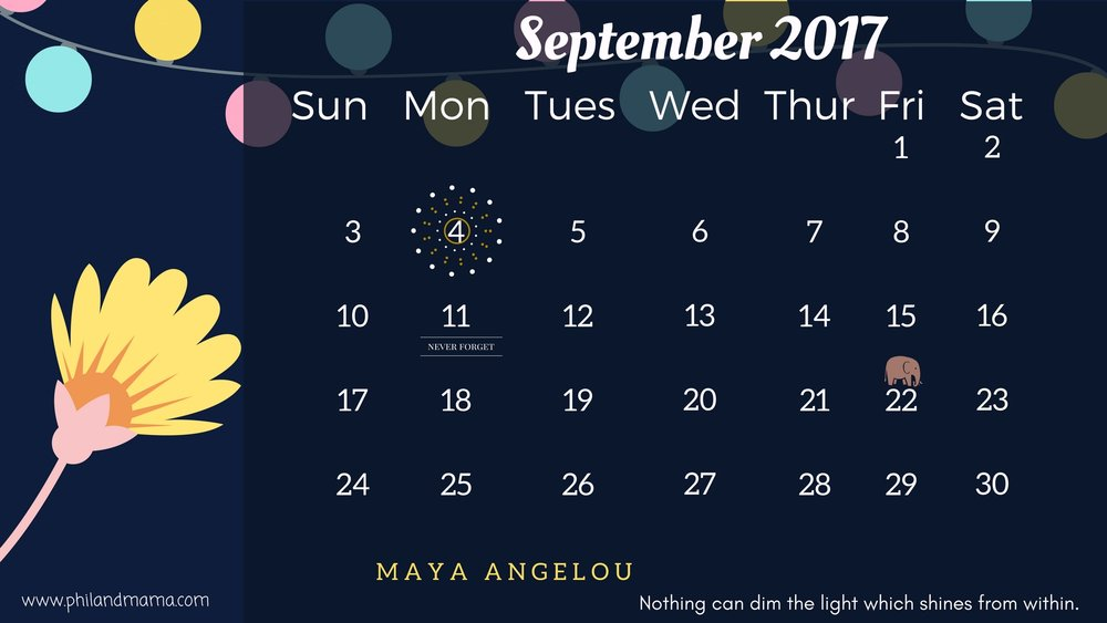 SEPTEMBER 2017 FREE PRINTABLE CALENDAR. CLICK ON THE IMAGE FOR THE PDF FILE. FOR THE IMAGE FILE, RIGHT-CLICK AND SAVE AS.