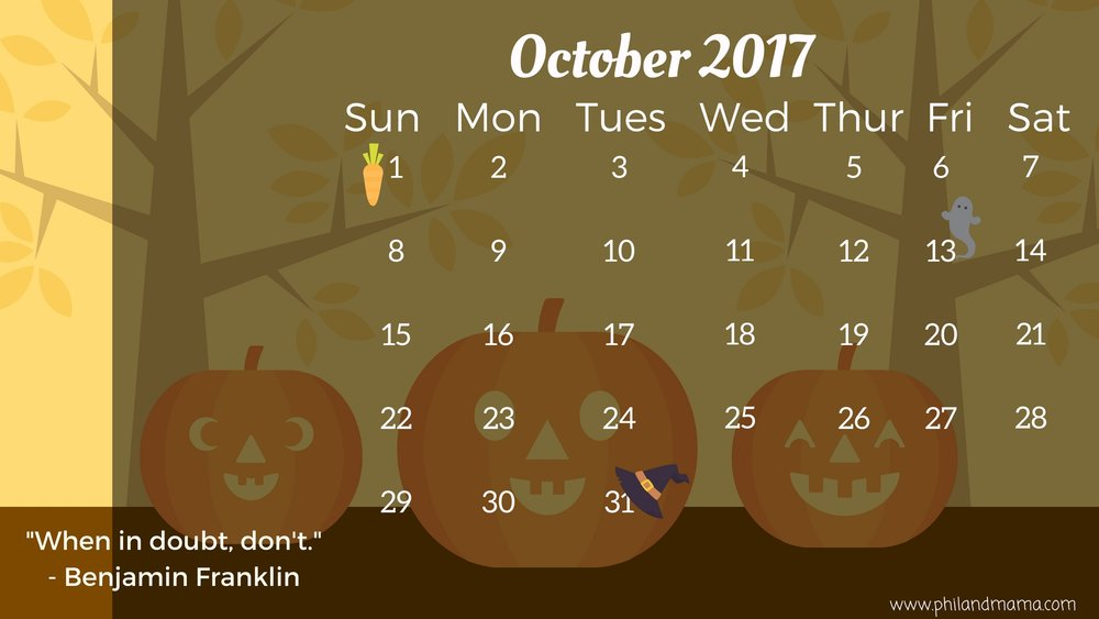 October 2017 FREE PRINTABLE CALENDAR. CLICK ON THE IMAGE FOR THE PDF FILE. FOR THE IMAGE FILE, RIGHT-CLICK AND SAVE AS.