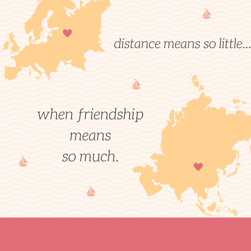 Distance means so little when friendship means so much- so true for us, all our friends are on the east coast while we're in the west coast
