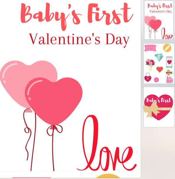 Click Image for a printable PDF of Valentine's Stickers and Baby's First Valentine's Day Printable for Photos