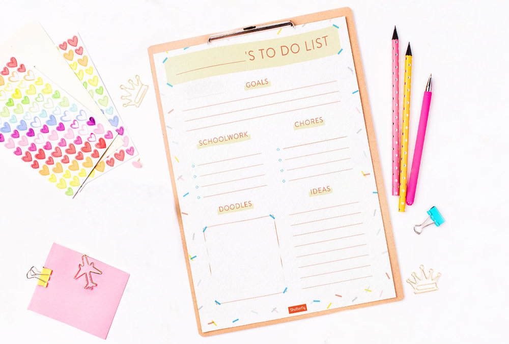 Click to download the printable Child's to-do-list PDF