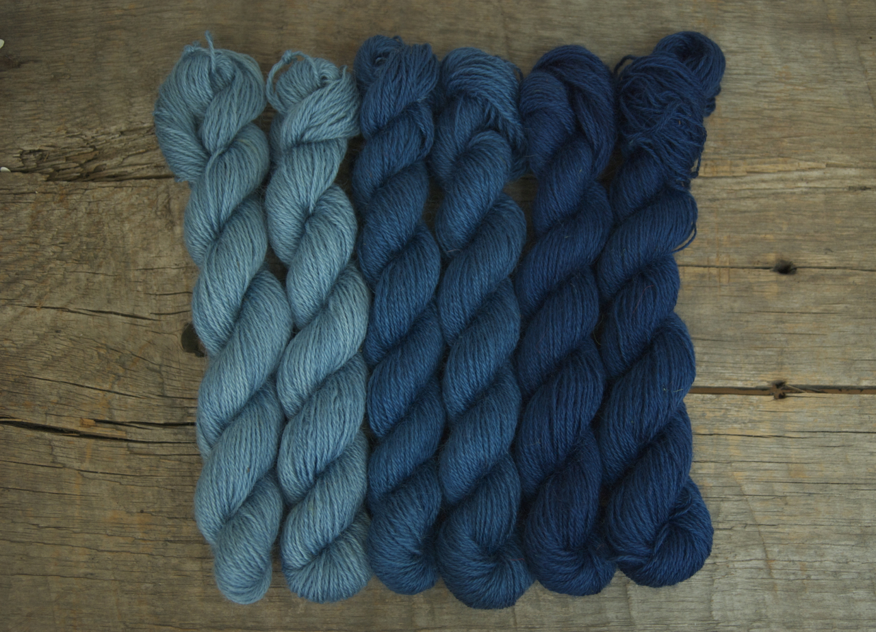 Sky Blue, Medium Blue, and Indigo