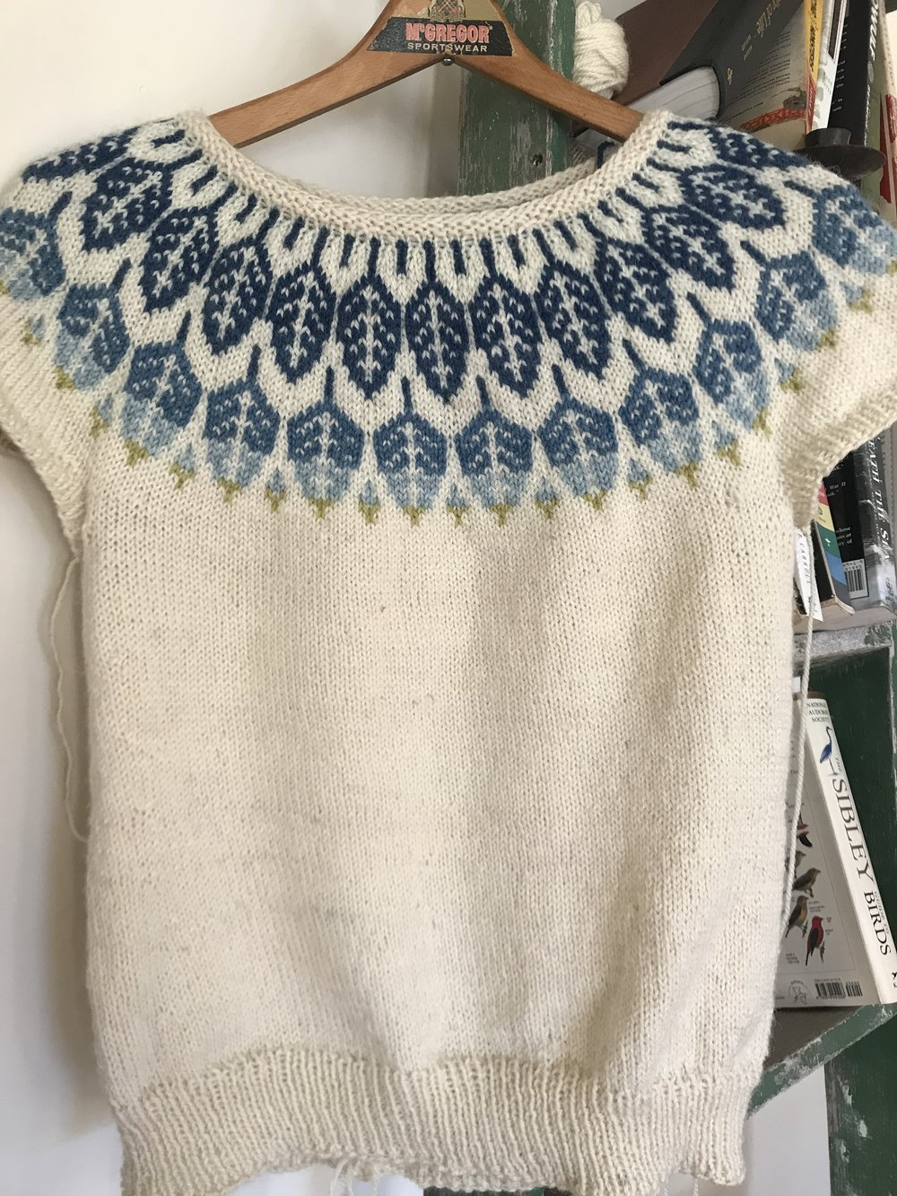 My short sleeved  Arboreal  (please excuse the untucked ends) knit with Cream as the main color, and Delft, Summer Sky, Glacier Bay, and Lichen as the yoke (yoke colors available as a kit).